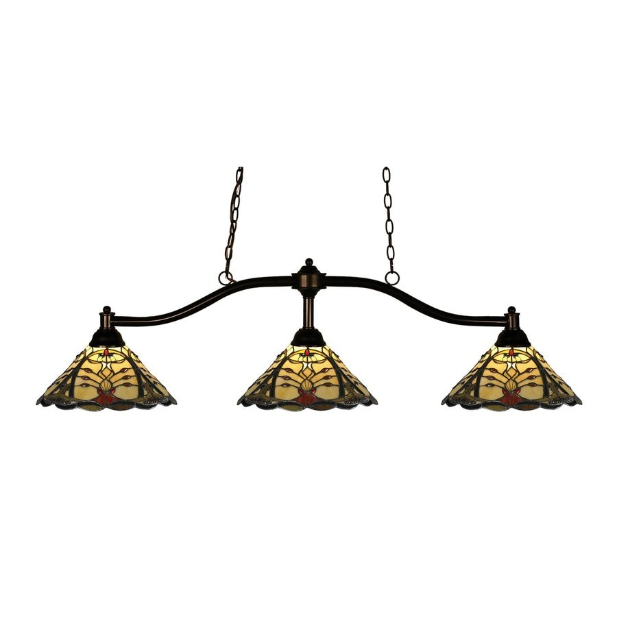 Z-Lite Chance 14-in W 3-Light Bronze Kitchen Island Light with Tiffany-Style Shade
