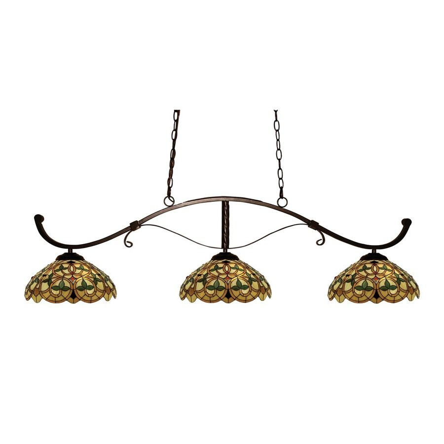 Z-Lite Howler 14-in W 3-Light Bronze Kitchen Island Light with Tiffany-Style Shade