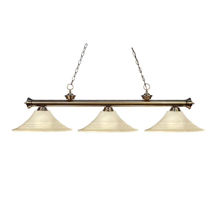 Z-Lite Riviera 16-in W 3-Light Antique Brass Kitchen Island Light with Frosted Shades
