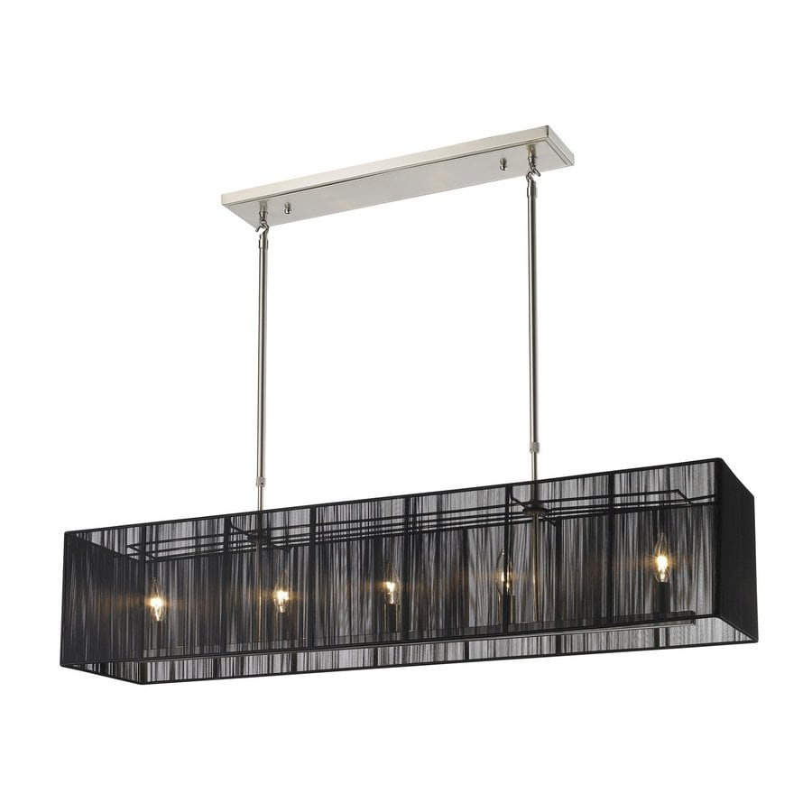 Shop Z Lite Aura 9 In W 5 Light Brushed Nickel Kitchen Island Light With Fabric Shade At