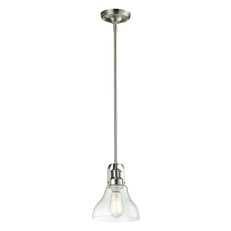Z-Lite Forge 7.5-in Brushed Nickel Industrial Mini Clear Glass Bell Pendant
