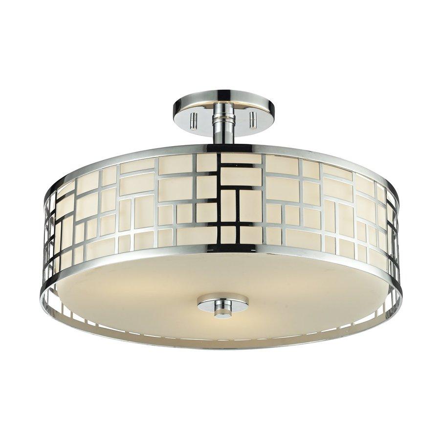 Z-Lite Elea 16.25-in W Chrome Opalescent Glass Semi-Flush Mount Light