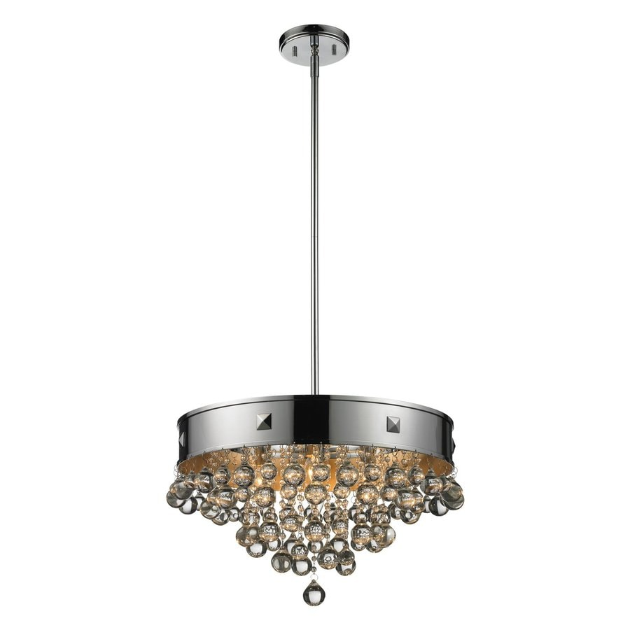 Z-Lite Iluva 18.38-in Chrome Crystal Single Drum Pendant