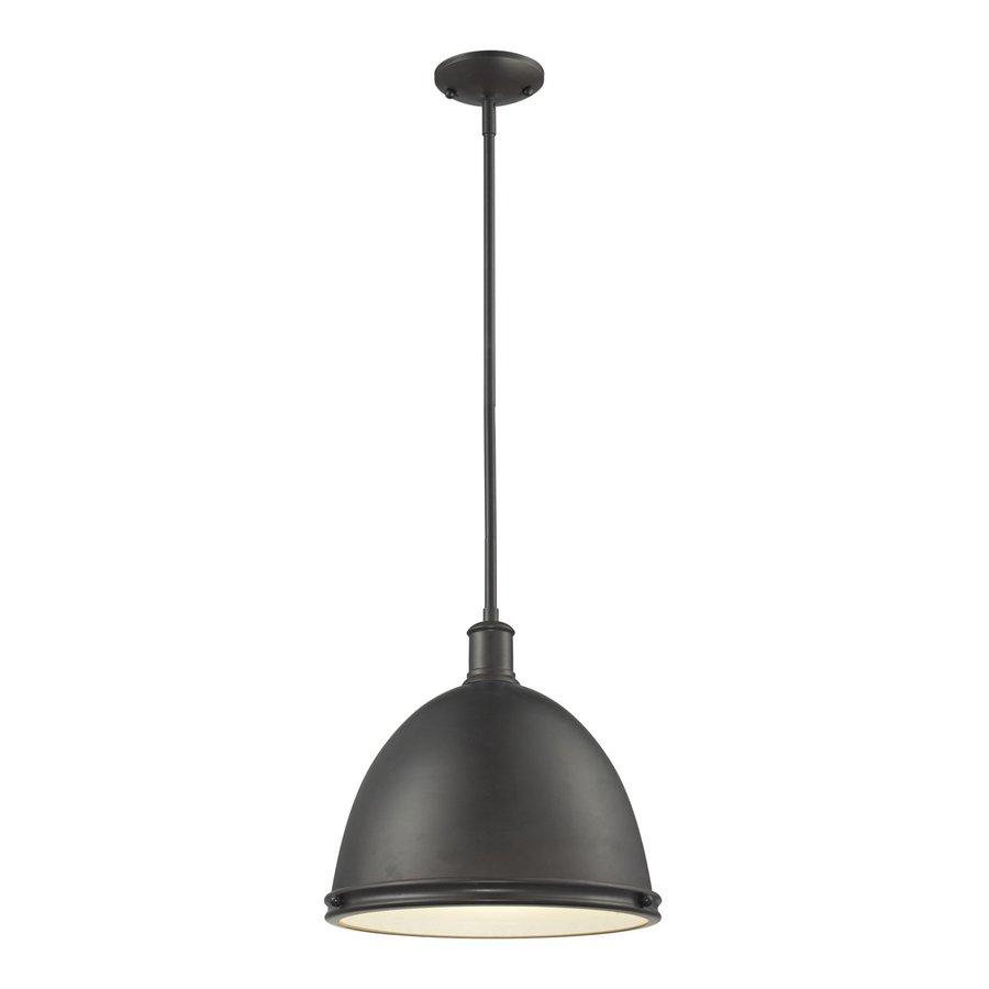 Z-Lite Mason 13-in Bronze Industrial Single Dome Pendant