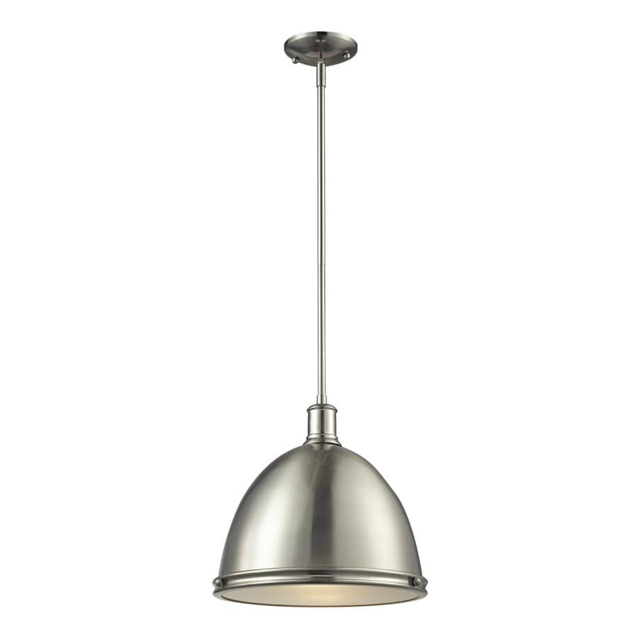 Z-Lite Mason 13-in Brushed Nickel Industrial Single Dome Pendant