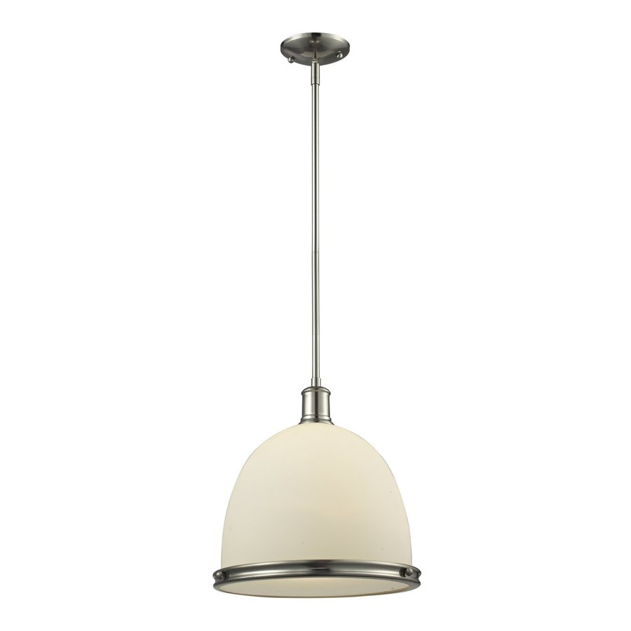 Z-Lite Mason 13-in Brushed Nickel Craftsman Single Dome Pendant