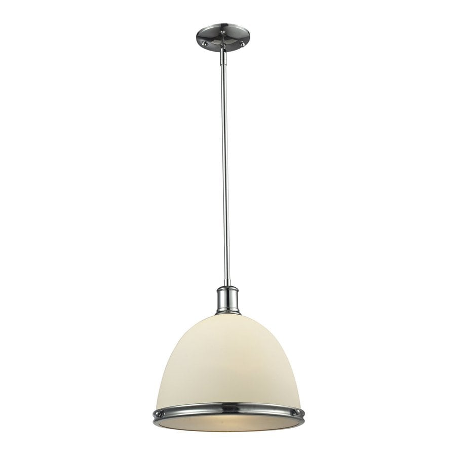 Z-Lite Mason 13-in Chrome Craftsman Single Dome Pendant