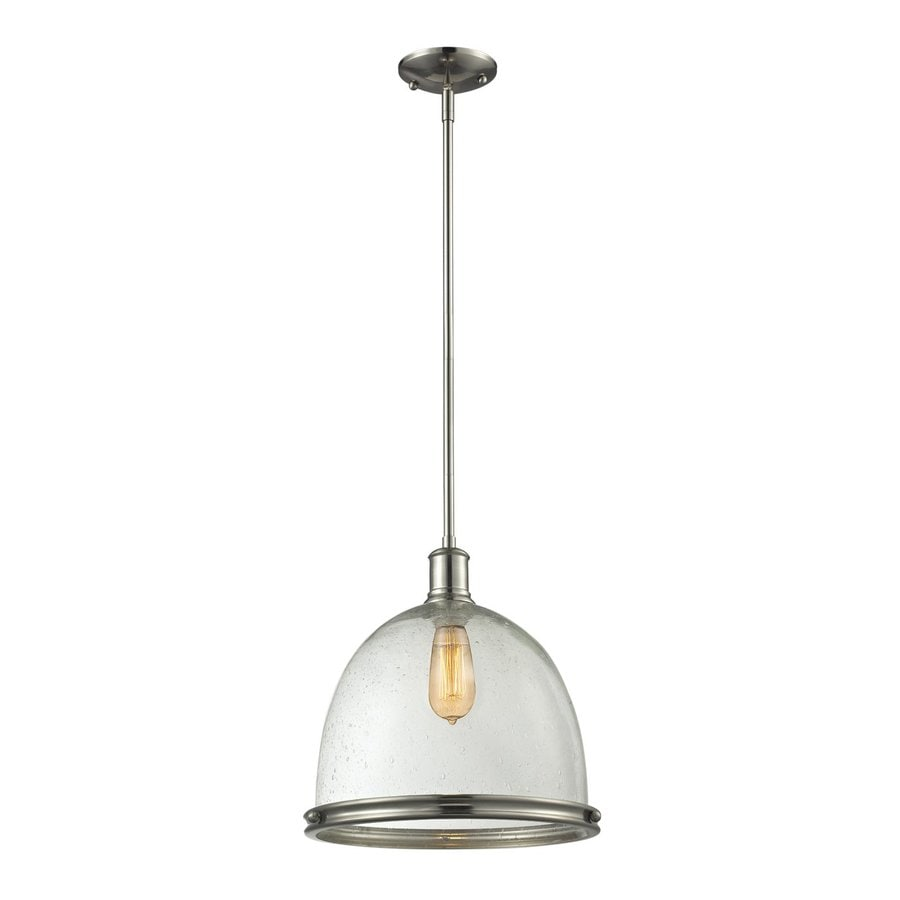 Z-Lite Mason 13-in Brushed Nickel Industrial Single Seeded Glass Dome Pendant