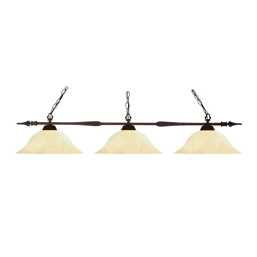 Z-Lite Aztec 16-in W 3-Light Bronze Kitchen Island Light with Frosted Shade