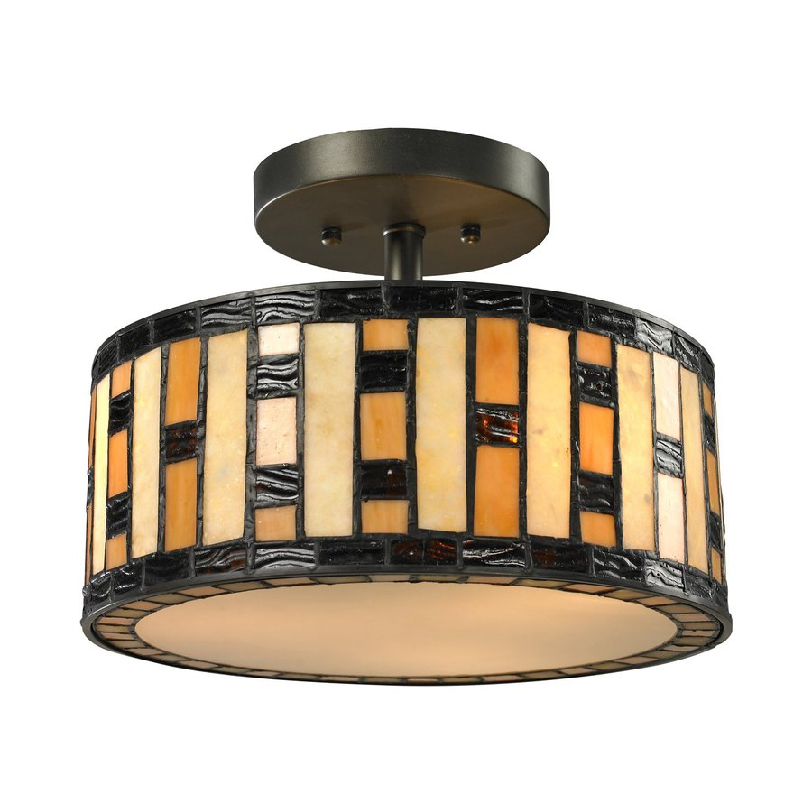 Z-Lite Raya 12-in W Java Bronze Tiffany-Style Semi-Flush Mount Light