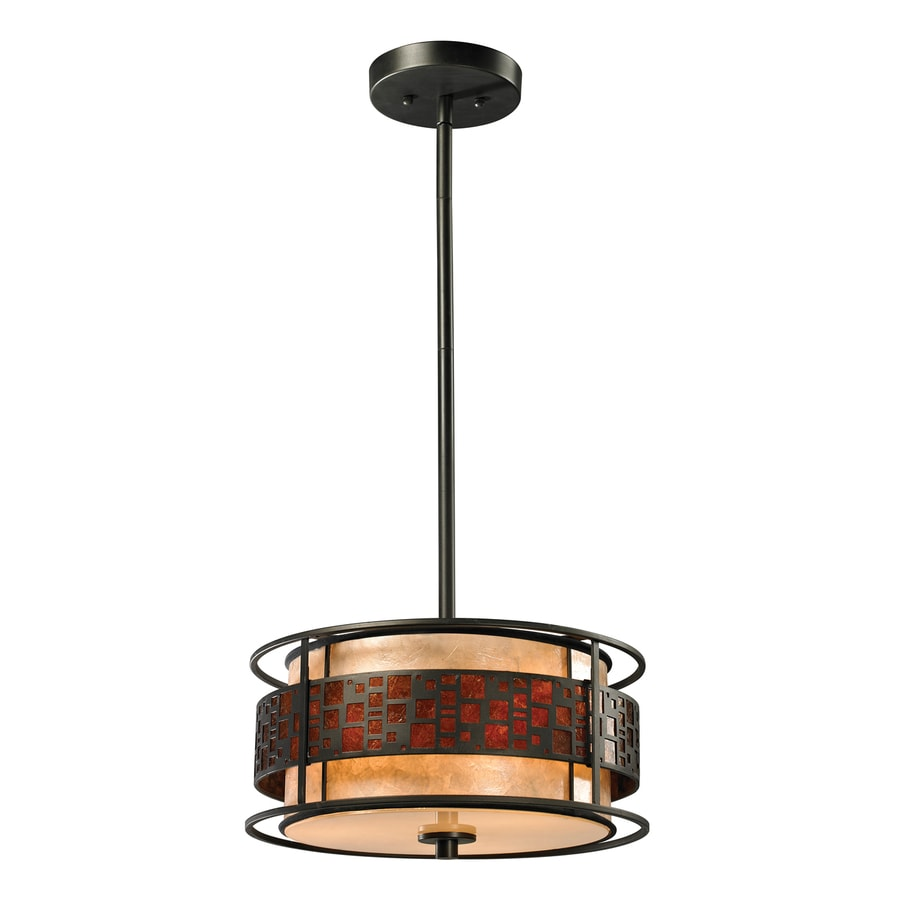Z-Lite Oak Park 14-in Java Bronze Craftsman Single Drum Pendant
