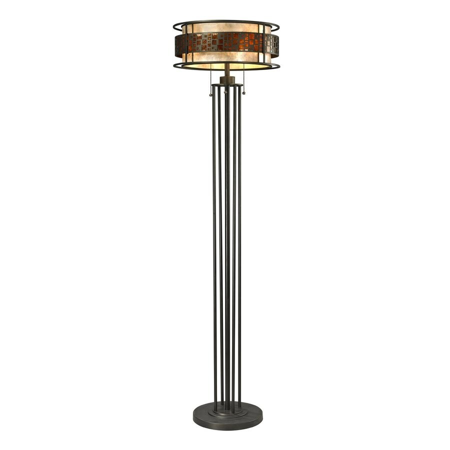 Z-Lite Milan 61.5-in Java bronze Torchiere Floor Lamp with Mica Shade