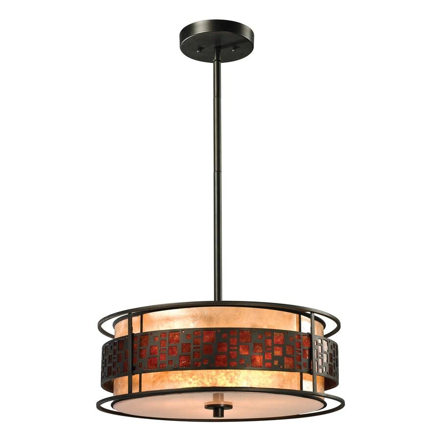 Z-Lite Oak Park 18-in Java Bronze Craftsman Single Drum Pendant
