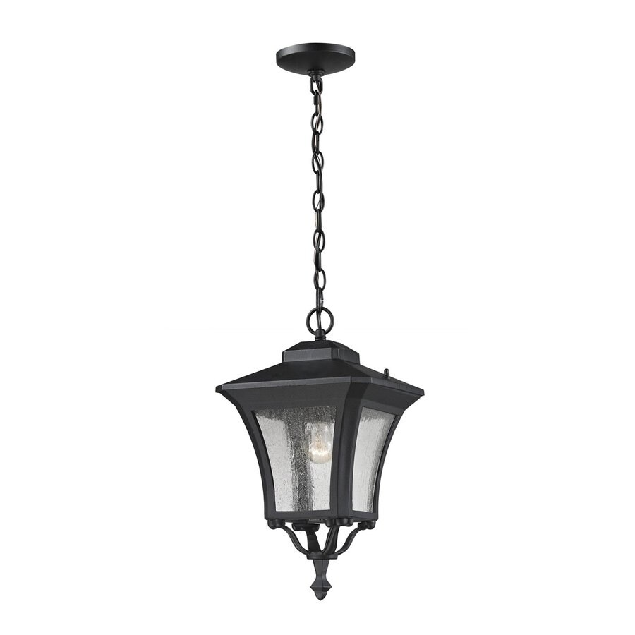 Z-Lite Waterdown 18-in H Sand Black Outdoor Pendant Light