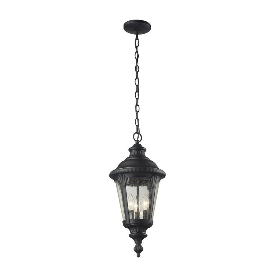 Z-Lite Medow 22.25-in H Sand Black Outdoor Pendant Light
