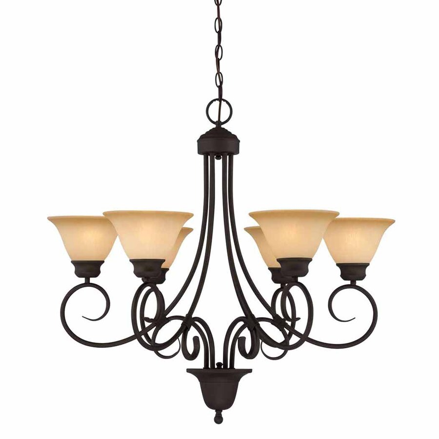 Volume International Troy 32.25-in 6-Light Antique Bronze Mediterranean Tinted Glass Shaded Chandelier
