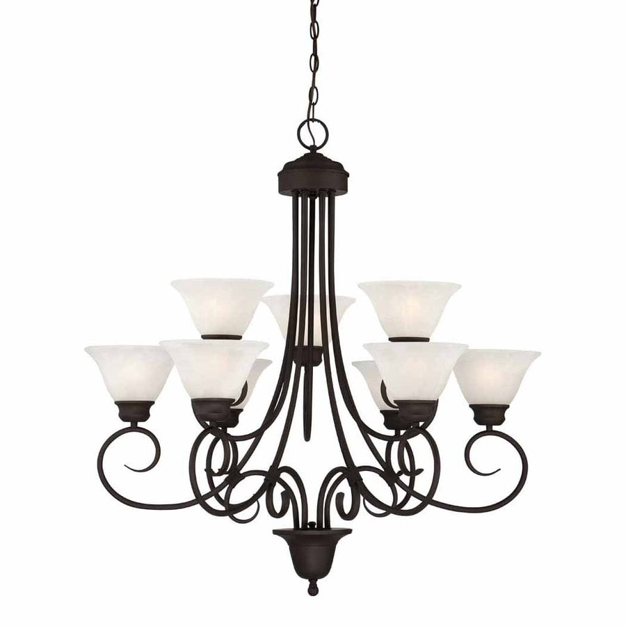 Volume International Troy 36-in 9-Light Antique Bronze Mediterranean Alabaster Glass Shaded Chandelier