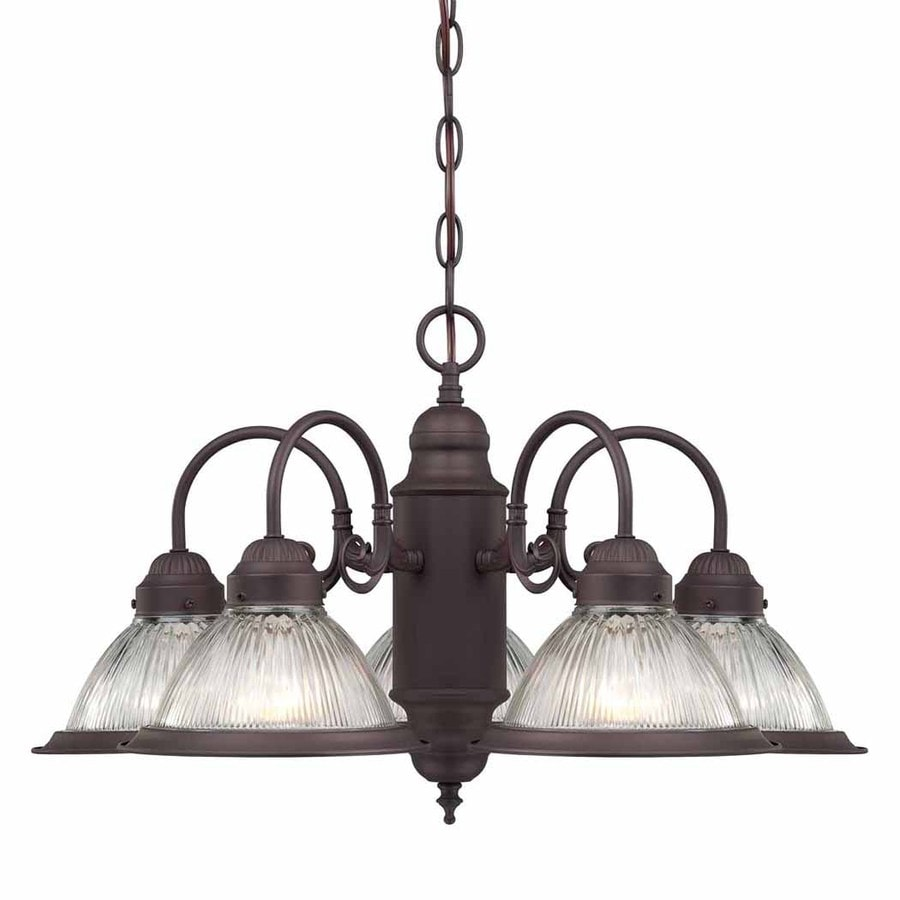 Volume International Roth 23-in 5-Light Antique Bronze Vintage Ribbed Glass Shaded Chandelier
