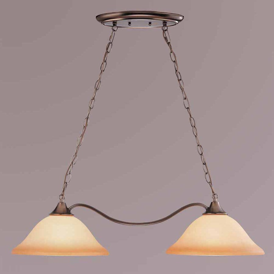 Volume International Troy 13.25-in W 2-Light Antique Bronze Kitchen Island Light with Tinted Shade