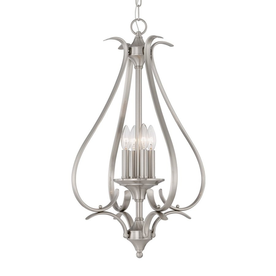 Thomas Lighting Prestige 17-in Brushed Nickel Single Cage Pendant
