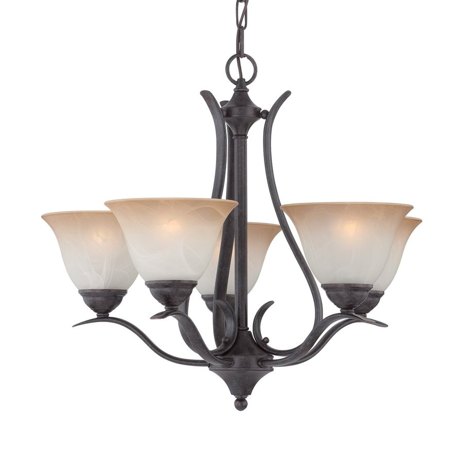 Thomas Lighting Prestige 24-in 5-Light Sable bronze Wrought Iron Tinted Glass Shaded Chandelier