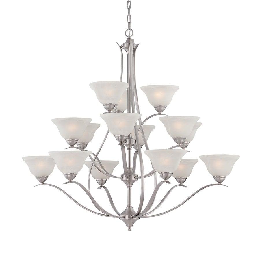 Thomas Lighting Prestige 48-in 15-Light Brushed Nickel Alabaster Glass Tiered Chandelier