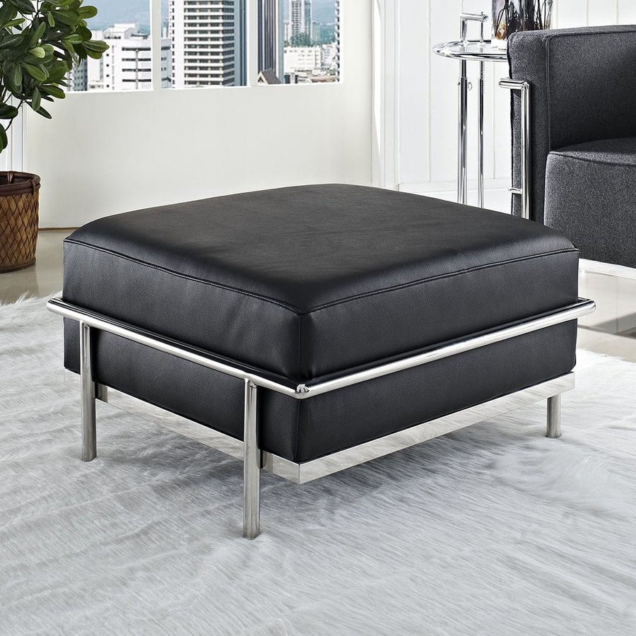 modway charles grande modern black genuine leather ottoman