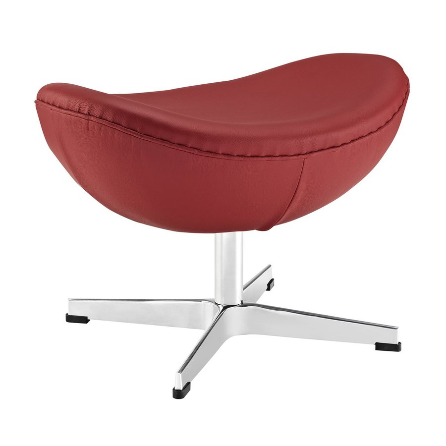 Modway Glove Modern Red Leather Crescent Ottoman