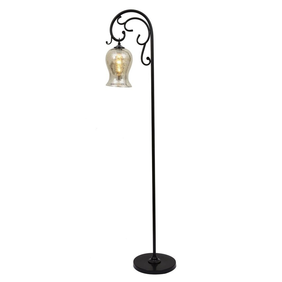 Decor Therapy 64-in Bronze Downbridge Floor Lamp with Glass Shade