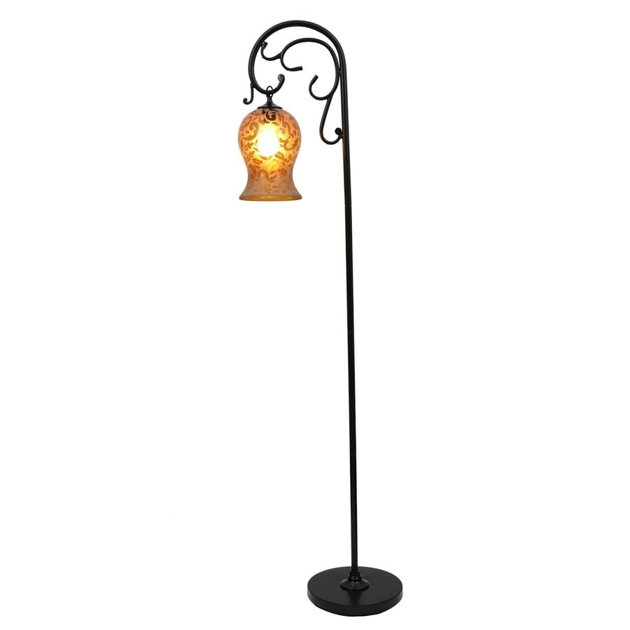 Decor Therapy 64 In Bronze Downbridge Floor Lamp With Glass Shade