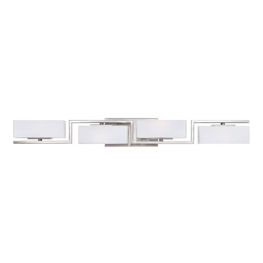 Designer's Fountain Meridian 4-Light 4.25-in Satin Platinum Rectangle Vanity Light