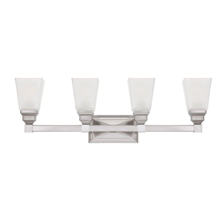 Designer's Fountain Trenton 4-Light 9.75-in Satin Nickel Rectangle Vanity Light