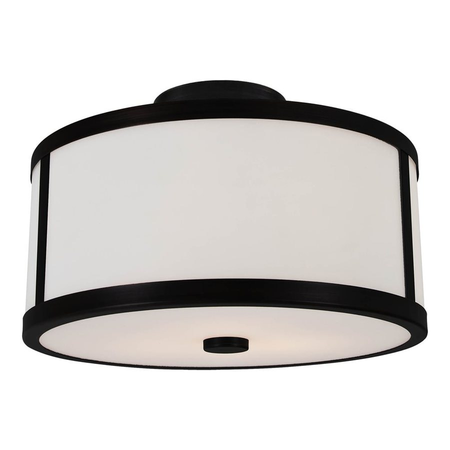 DVI Uptown 12-in W Graphite Opalescent Glass Semi-Flush Mount Light