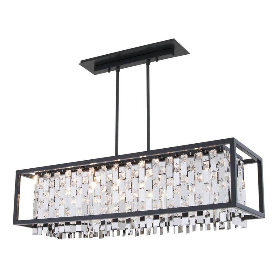 DVI 11.75-in W 6-Light Graphite Crystal Accent Kitchen Island Light with Crystal Shade