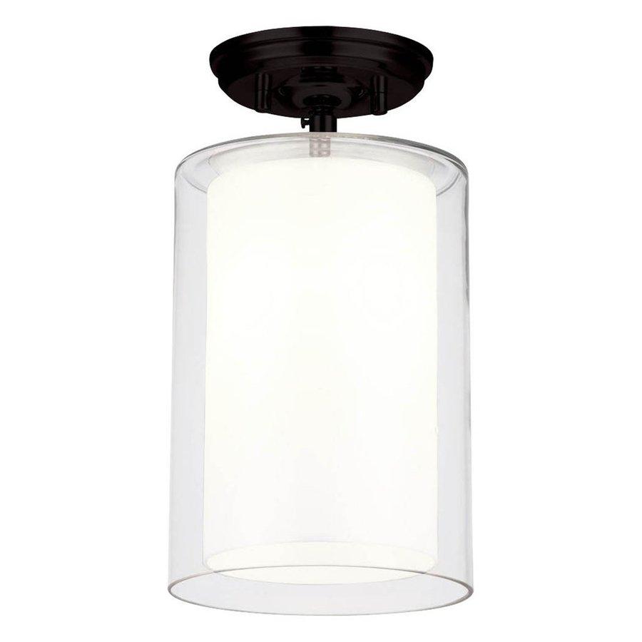 DVI Amethyst 7-in W Graphite Opalescent Glass Semi-Flush Mount Light