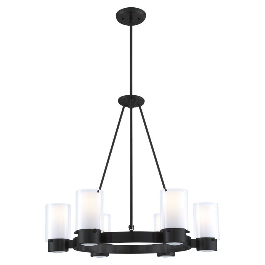 DVI Essex 27-in 6-Light Graphite Craftsman Shaded Chandelier