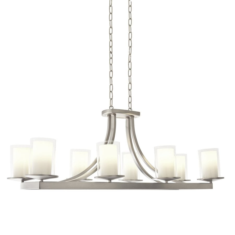 DVI Essex 39-in 8-Light Buffed nickel Craftsman Linear Chandelier