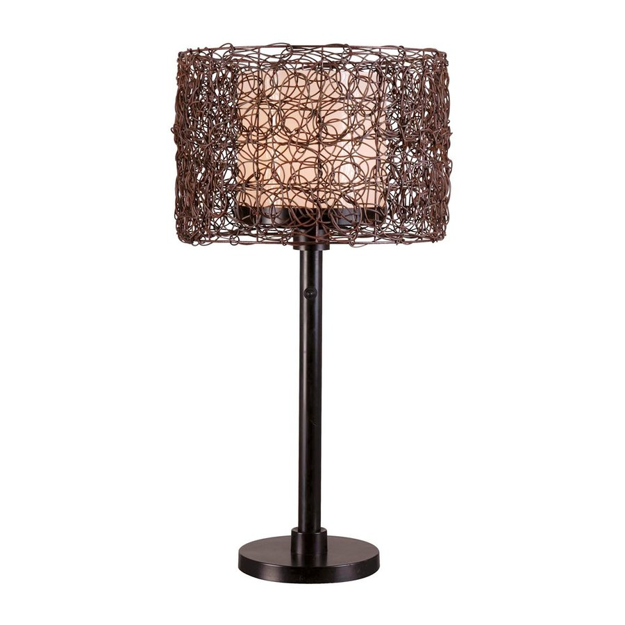 Kenroy Home Tanglewood 28-in Bronze Table Lamp with Glass Shade