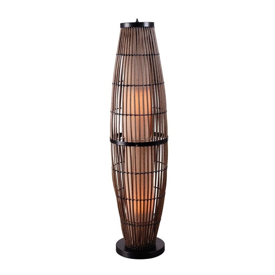 Kenroy Home Biscayne 51-in Bronze 4-Way Stick Floor Lamp with Glass Shade