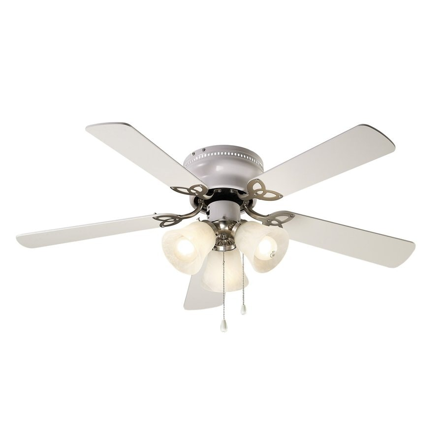 ... Brushed Nickel Flush Mount Indoor Ceiling Fan with Light Kit (5-Blade