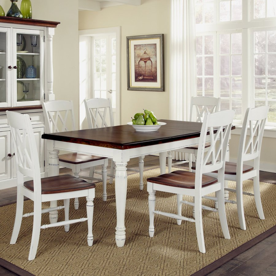 Home Styles Monarch White/Oak 7-Piece Dining Set with Dining Table : white kitchen table sets - pezcame.com