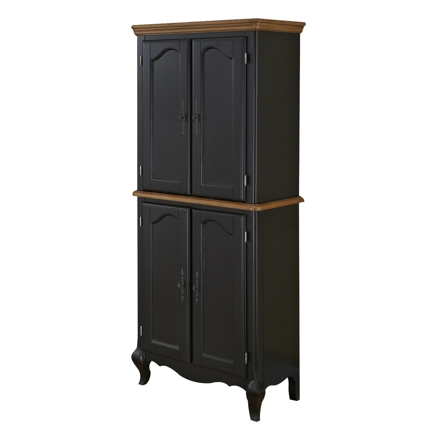 Home Styles French Countryside Black/Oak Rectangular Kitchen Hutch