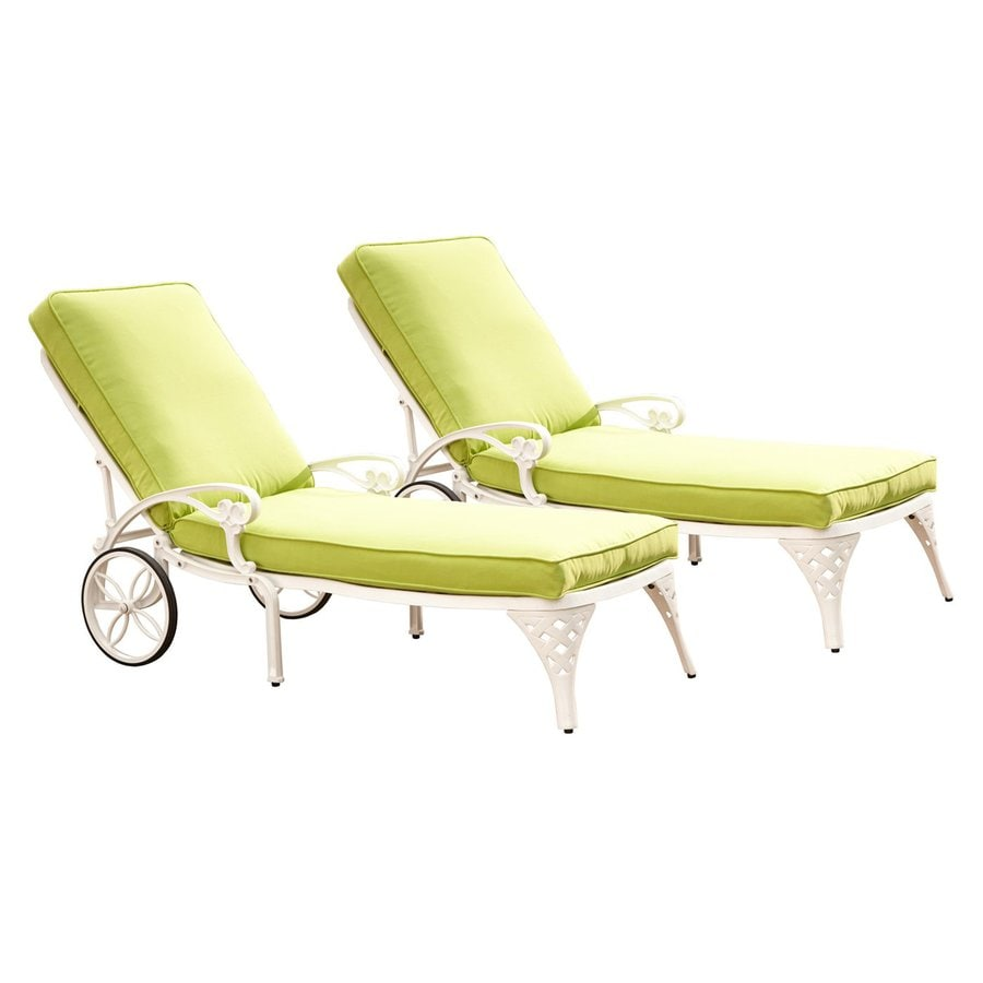 Home Styles Biscayne 2-Count White Aluminum Patio Chaise Lounges