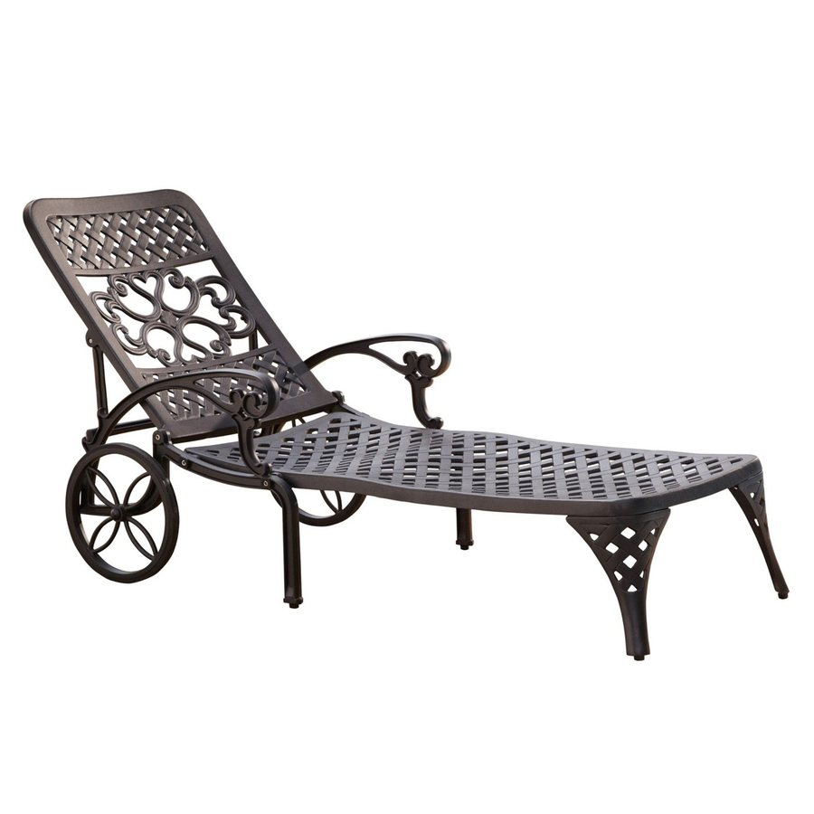 Shop home styles biscayne black aluminum patio chaise for Black outdoor chaise lounge