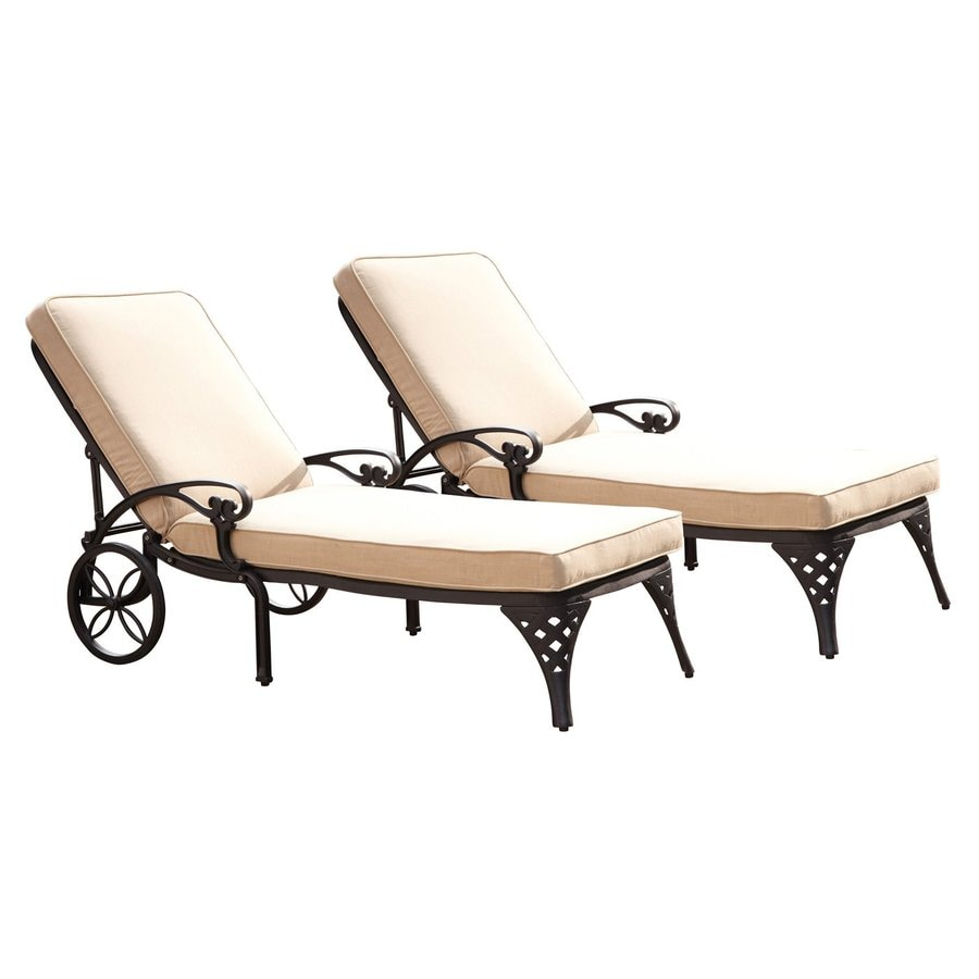 Shop home styles biscayne 2 count black aluminum patio for Black metal chaise lounge outdoor