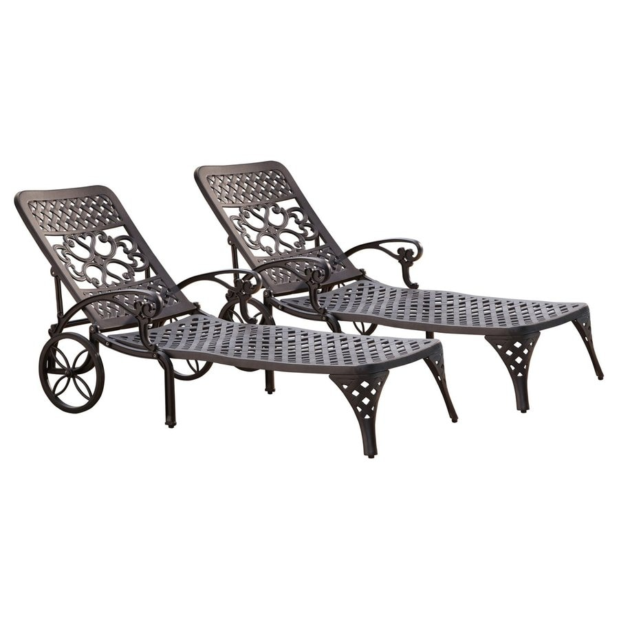 Home Styles Biscayne 2-Count Black Aluminum Patio Chaise Lounge Chairs