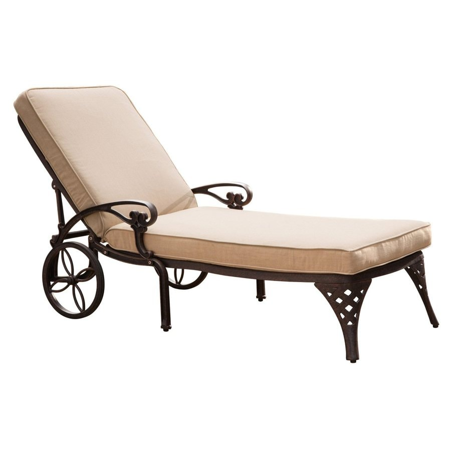Shop home styles biscayne bronze aluminum patio chaise for Aluminum outdoor chaise lounge