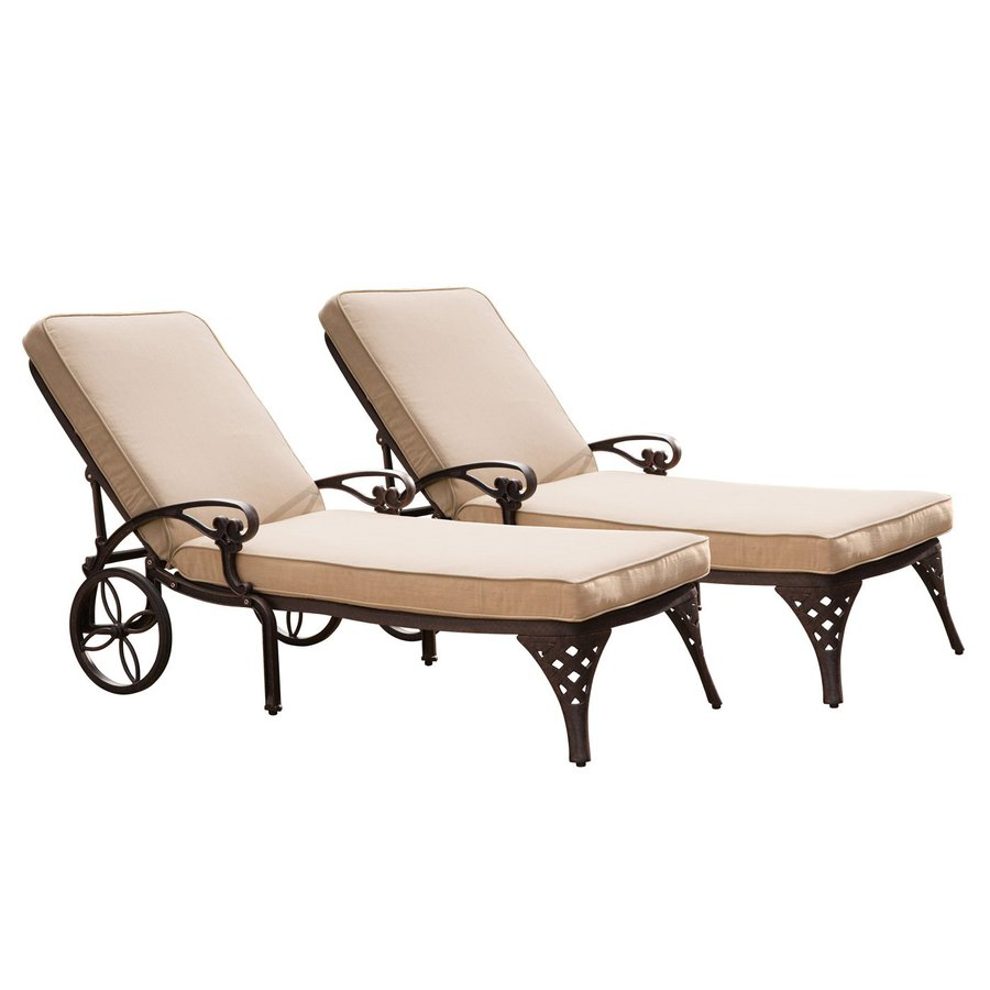 Home Styles Biscayne 2-Count Bronze Aluminum Patio Chaise Lounges
