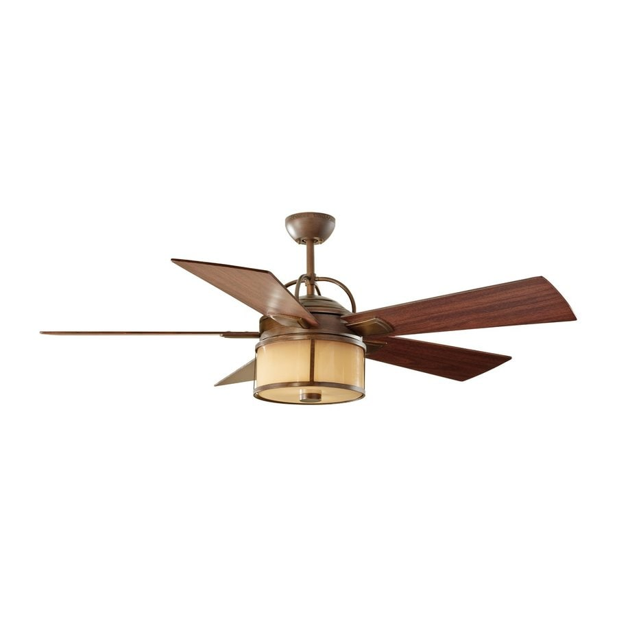 Monte Carlo Fan Company Dakota 52-in Heritage Bronze Downrod Mount Indoor/Outdoor Ceiling Fan with Remote Control (5-Blade)