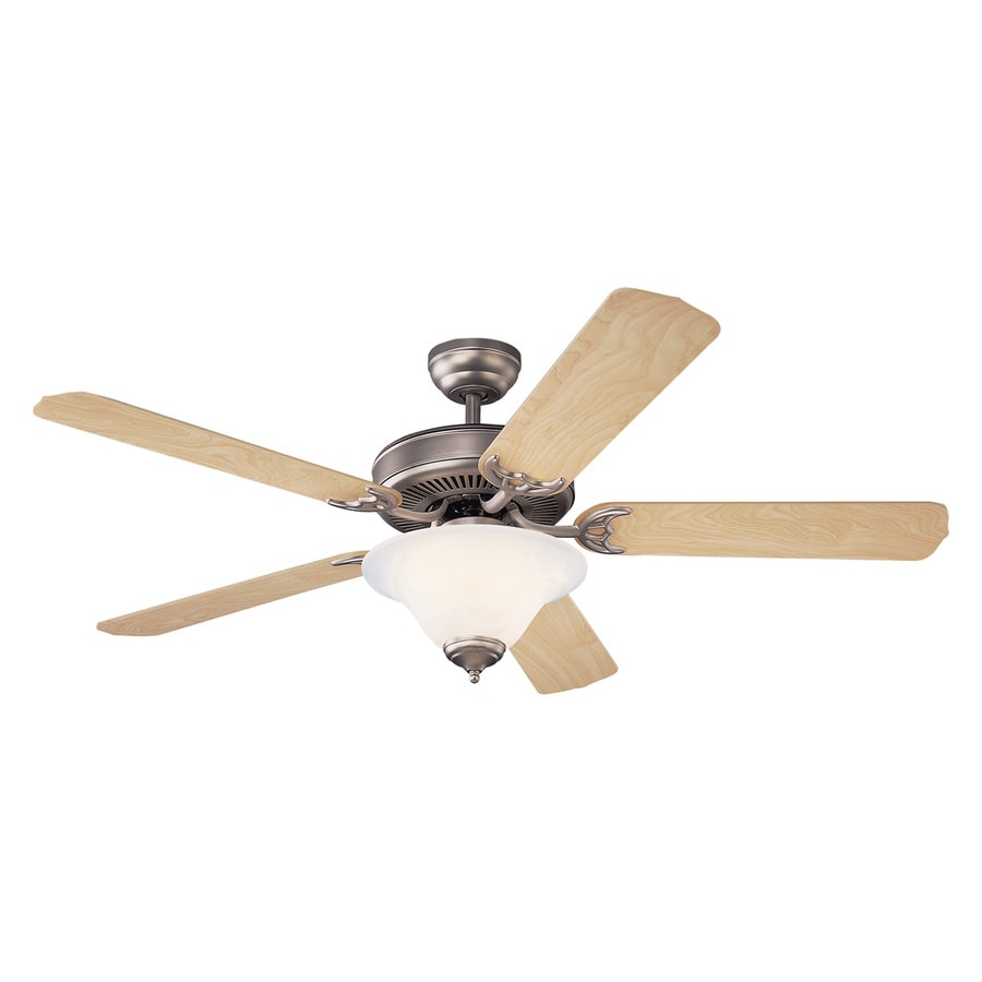 Monte Carlo Fan Company Homeowners Deluxe 52-in Brushed pewter Indoor Downrod Or Close Mount Ceiling Fan with Light Kit